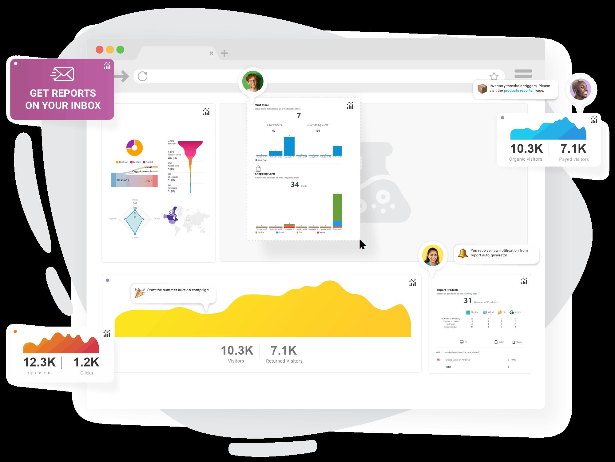 No-code report designer.<br>Create your custom reports.