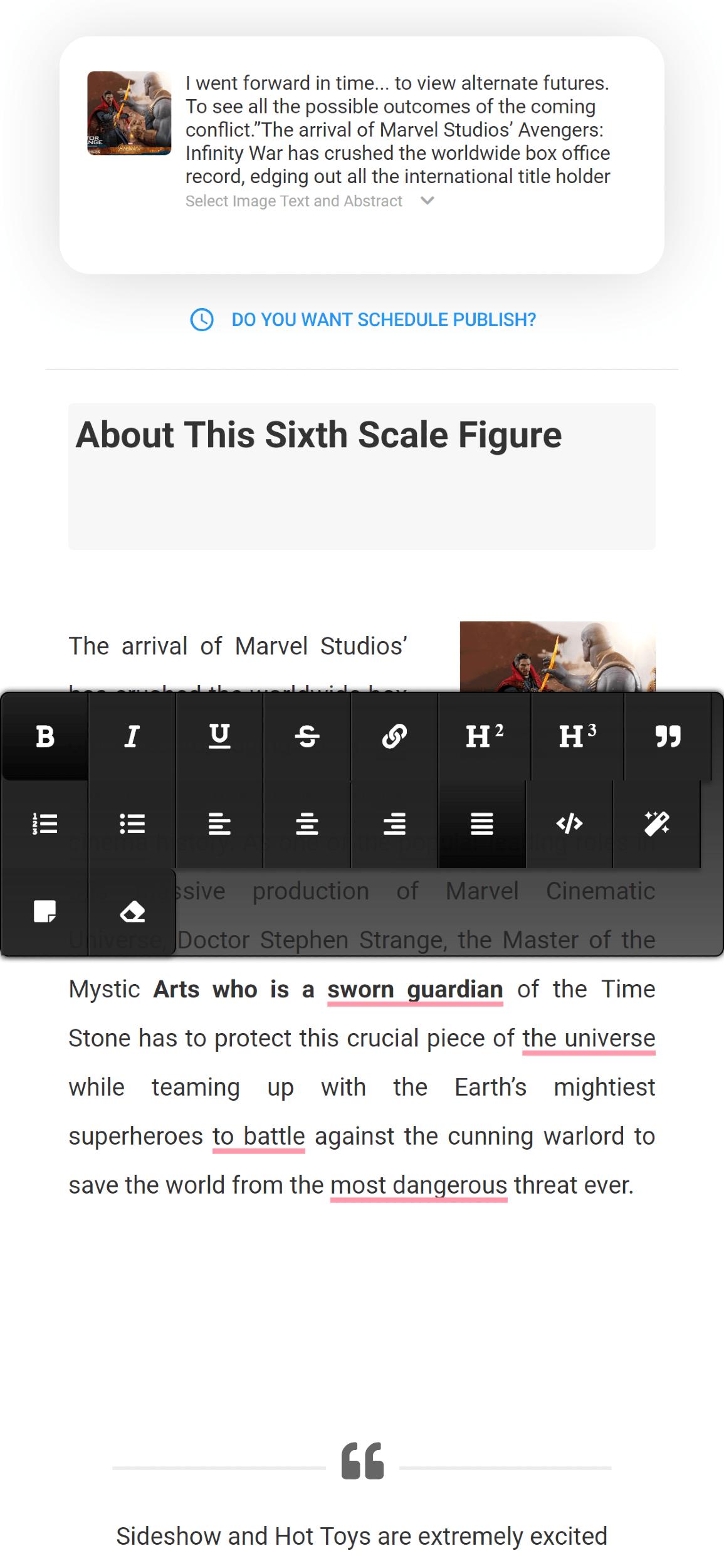 Inline editor<br>